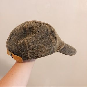 Distressed leather ball cap